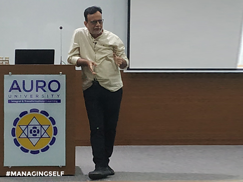 Dr. Hasmukh Adhia explains art of self-management at AURO University